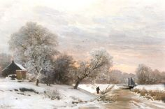 Lodewijk Franciscus Hendrik 'Louis' Apol (Den Haag 1850-1936) Early morning in winter - Dutch Art Gallery Simonis and Buunk Ede, Netherlands.