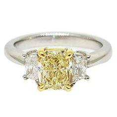 Fancy Light Yellow Diamond Platinum Ring