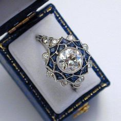 Art Deco platinum ring with diamonds and sapphires ~ Possibly France ~ 1925