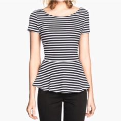 H&M peplum blouse Super cute black and white striped peplum blouse from H&M. Only worn once! Goes great with skinnies and chunky jewelry.  Can also be dressed down for casual wear. H&M Tops Blouses