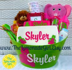Personalized Baby BOY GIRL Baby Shower Basket by TheLemonadeGirl, $45.00