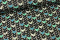 Viskose Jersey - V-Muster - Khaki-Blau auf alles-fuer-selbermacher.de
