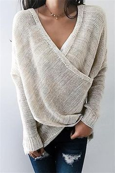 WanaDress Simple Casual V Neck Front Cross Weekend Sweater Top Casual Sweaters, Long Sweaters, Pullover Sweaters, Fall Sweaters For Women, Couture, Looks Style, Girly Outfits, Long Sleeve Sweater, Autumn Fashion