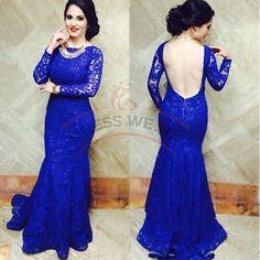 Elegant Mermaid Prom Dresses,Backless Prom Dresses,Long Sleeves Prom Dresses,Blue Long Prom Dresses,Modest Prom Dresses