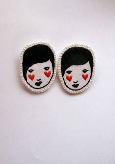Embroidered jewelry brooch of face with red hearts black and white listing is…