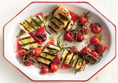 Grilled Halloumi with Watermelon and Basil-Mint Oil, food & wine