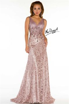 This stunning Mac Duggal sequined evening gown has a form-fitting fit and a silky shine.#BlushDress #MacDuggal