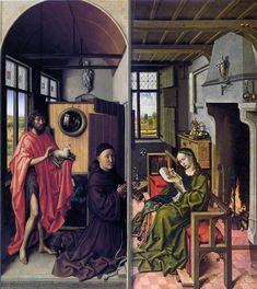 Robert Campin ?, Heinrich von Werl présenté par Saint Jean-Baptiste et Sainte Barbe, deux volets extérieurs du « Triptyque Werl », huile sur bois, 1438, Madrid, musée du Prado.