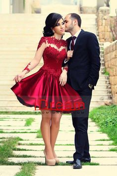 2015 Beautiful Prom Dresses Short A-Line Scoop Long Sleeves With Applique USD 149.99 IDPQ59SR71 - iDreamPromDress.com