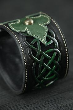 Leather Cuff, leather bracelet, leather band: Celtic Clover Cuff. $95.00, via Etsy.