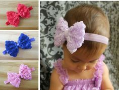 Colourful Baby Girl Kid Headband Bow Lace Flower Hairband 12 Colors Drop Shipping Fashion Hot Sale A187