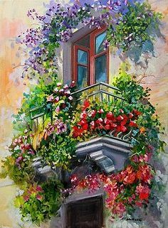 Balcony With Flowers - Italy Painting by Gioia Mannucci Art Watercolor, Watercolor Flowers, Acrylic Painting Canvas, Canvas Art, Pintura Exterior, Italy Painting, Italy Art, Beautiful Paintings, Landscape Paintings