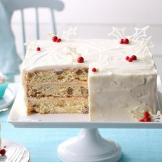 """"""" is the reaction from family and guests when they see and taste this lovely three-layer cake from Nancy Reichert. """"White chocolate, coconut and pecans make the cake so delicious,"""" notes the Thomasville, Georgia cook. Christmas Desserts, Christmas Treats, Christmas Cakes, Christmas Foods, Holiday Cakes, Christmas Cooking, Christmas Stuff, Holiday Decor, Cake Recipes"""