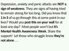 Depression anxiety Mental health week - let's pay attention to everyone. share the thoughts! Mental Health Week, Mental Health Quotes, Mental Health Awareness, Anxiety Awareness, Depression Awareness, Health Facts, Alcohol Awareness, Depression Facts, Beat Depression