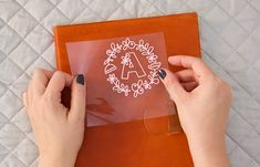 How to Apply Heat Transfer Vinyl to Leather: DIY Monogram Leather Notebook - Persia Lou Leather Diy Crafts, Leather Gifts, Leather Projects, Leather Totes, Handmade Leather, Leather Bags, Vintage Leather, Leather Purses, Monogram Notebook