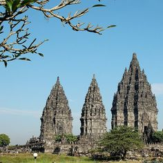 Prambanan is a Hindu temple in Central Java, Indonesia. The temple was built in 850 CE, and is composed of 8 main shrines and 250 surrounding smaller ones.