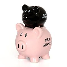 IGGI New Novelty His and Hers Coin Saving Piggy Bank Money Jar >>> You can find out more details at the link of the image.