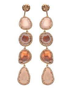 Lilac geode earrings trimmed with white diamond pavé by Kimberly McDonald. Set in eighteen carat yellow gold.