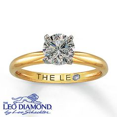 This round 1 carat Leo Diamond was handcrafted by Leo Schachter and independently certified. Platinum prongs securely hold the near-colorless diamond in a high-polish 14K yellow gold setting. A unique Gemscribe® serial number has been laser-inscribed so your diamond will never be mistaken for another. The inside of the band features a round diamond within the Leo signature.