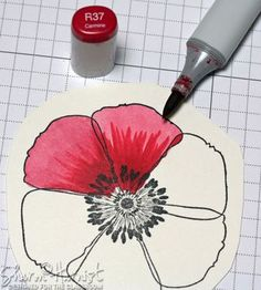 Copic Flick Fleather Blended Poppy by Sharon Harnist