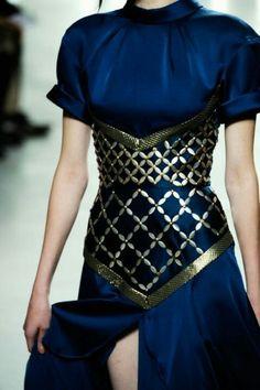 Armor Underbust Corset on Deep Blue Dress