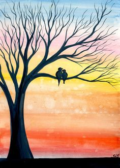Early Birds - Original watercolour painting by Kirsten Bailey