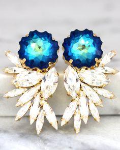 Blue Statement Earrings,Swarovski Chandelier Earrings,Bridal Earrings,Cocktail Earrings,Big Earring, cocktail earrings, Wedding Earrings Dazzling post
