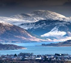 looking east over Ullapool and along Loch Broom to the Beinne Dearg range at end of March