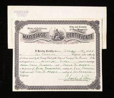 Marilyn Monroe and Joe DiMaggio's wedding certificate, dated January 14th 1954.