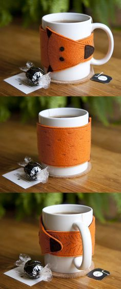 No tutorial but could make any felt shape with magnets inside for mug cozies. Maybe a tardis one for Cathy next Xmas?