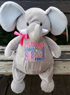 Personalized baby gift baby cubbies rhino birth announcement personalized baby gift stuffed plush elephant with name stuffed animal elephant keepsake custom embroidery design best baby gift ever negle Gallery