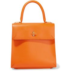 Charlotte Olympia Bogart textured-leather tote ($1,300) ❤ liked on Polyvore featuring bags, handbags, tote bags, orange, handbags tote bags, top handle handbags, orange purse, pouch purse and tote purse
