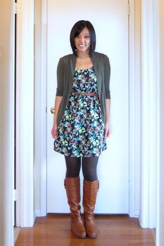 Putting Me Together: My Five Fall Go-To Outfit Formulas: Dress+Cardigan+Tights+Boots