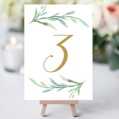 """Greenery wedding table numbers template, printable reception table number - 5x7 inches and 4x6"""". DIY number cards. Editable Word templates"""