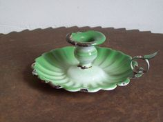 Antique candle holder green enamelware candle door LostTreeMan