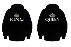 Couple Matching Hoodies - My King & My Queen - Black - S-XXL - Best Gift Ever - Cute from ClothingWorld on Etsy. Saved to Things I want as gifts. Cute Couple Hoodies, Boys Hoodies, Couple Shirts, Shirts For Girls, Couple Clothes, Couple Stuff, Hooded Sweatshirts, Matching Couple Outfits, Matching Couples