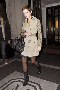 """""""Emma Watson Tights """"-  Emma wears a pair of darling polka-dot tights with her studded Burberry trench."""