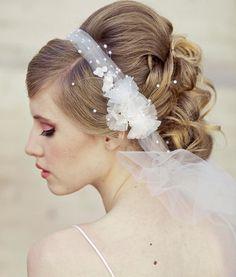 Hochzeits-Schleier Tie Stirnband der Netto-und Weinlese-Blumen-Hochzeits-Haarschmuck, Schleier, Braut Veilm Blumen-Stirnband mit
