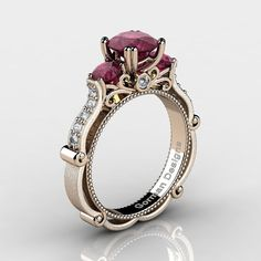 Classic Italian 14K Rose Gold 1.5 Ct Deep Red by GormanDesigns