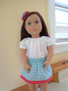 18 Doll Outfit Shirred Waist Skirt with Peasant by MissyMaesCloset, $15.00