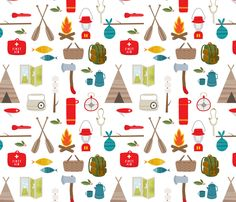 Camping fabric by lamai on Spoonflower - custom fabric. This is my all-time favorite fabric. Print Wallpaper, Fabric Wallpaper, Fabric Patterns, Print Patterns, Camper Fabric, Camping Wallpaper, Nursery Curtains, Nursery Room, Camping Theme
