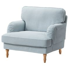 STOCKSUND Chair - Remvallen blue/white, light brown - IKEA