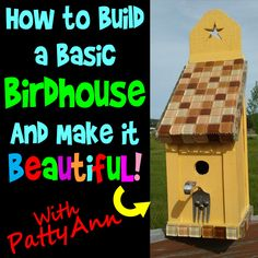 This 20 minute video has complete birdhouse building instructions, creative demonstrations, and fun out-takes. Filled with ideas, how tos, and examples anyone can create a designer birdhouse easily!