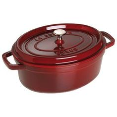 """2.5-Quart cast iron oval cocotte in grenadine. Induction hob compatible.   Product: CocotteConstruction Material: Cast ironColor: GrenadineFeatures:  Induction hob compatible2.5 Quart capacity Dimensions: 6.5"""" H x 9"""" W x 3.75"""" D"""