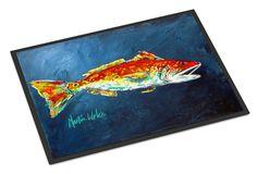 Fish - Red Fish Red for Jarett Indoor or Outdoor Mat 18x27 Doormat