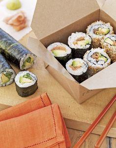 Must try!  Sushi-making is a snap — and so healthful — with our salmon-avocado sushi recipe. Be sure to use authentic sushi rice, which retains an appropriately sticky texture for expert rolling.