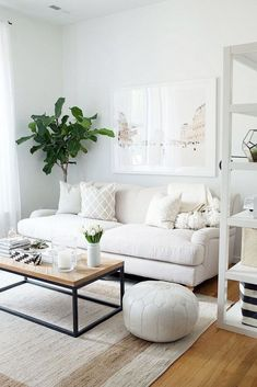 This calming living room is pale blue with a white couch and bookshelf, a wood and black coffee table, and greenery.