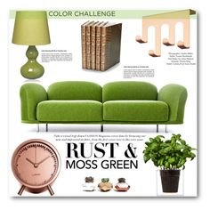 """Color Challenge: Moss Green and Rust"" by angelstar92 ❤ liked on Polyvore featuring interior, interiors, interior design, home, home decor, interior decorating, Moooi, Boskke, Conran and Decorative Leather Books"