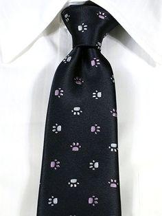 (イータイニシジン) e-tie NISHIJIN 西陣織ネクタイ  犬・猫 肉球柄ネクタイ チャコールグレー