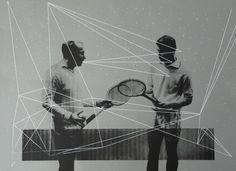 tennis players, silkscreen print